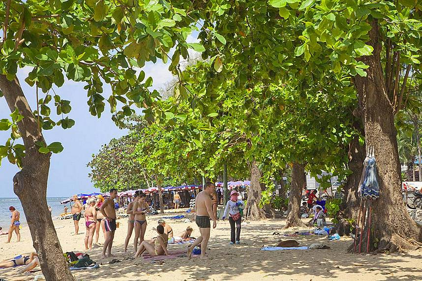 Dong Tan Beach Pattaya offers small restaurants and shady stretches of sand