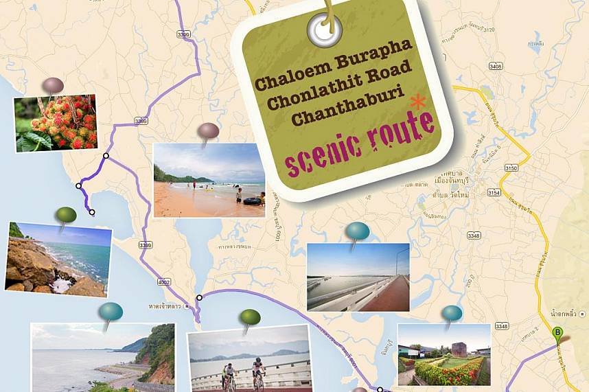 A map shows all the highlights during a Chanthaburi One Day Cycling Trip