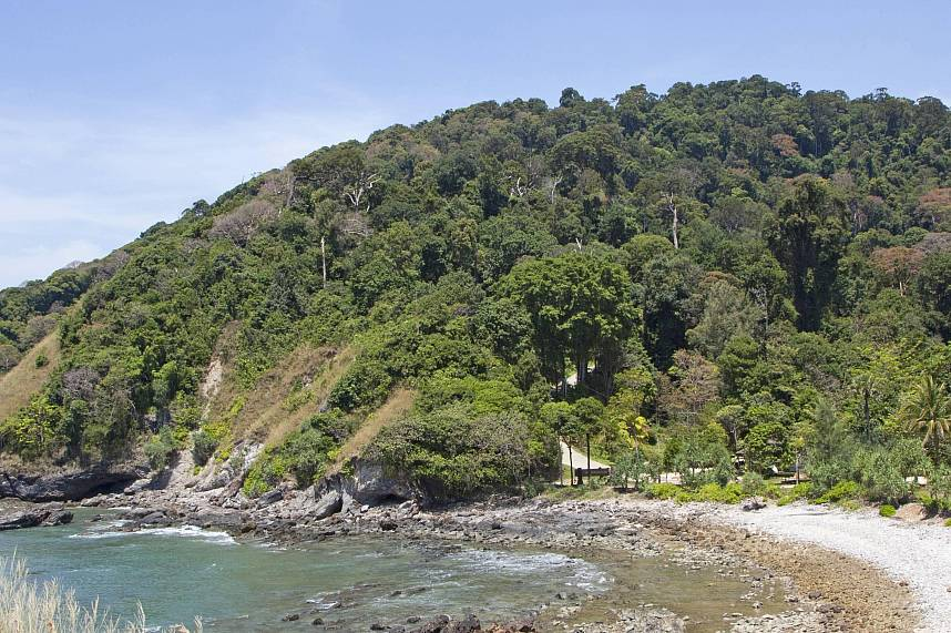A small cove and jungle covered mountain awaits you at Mu Koh Lanta National Park