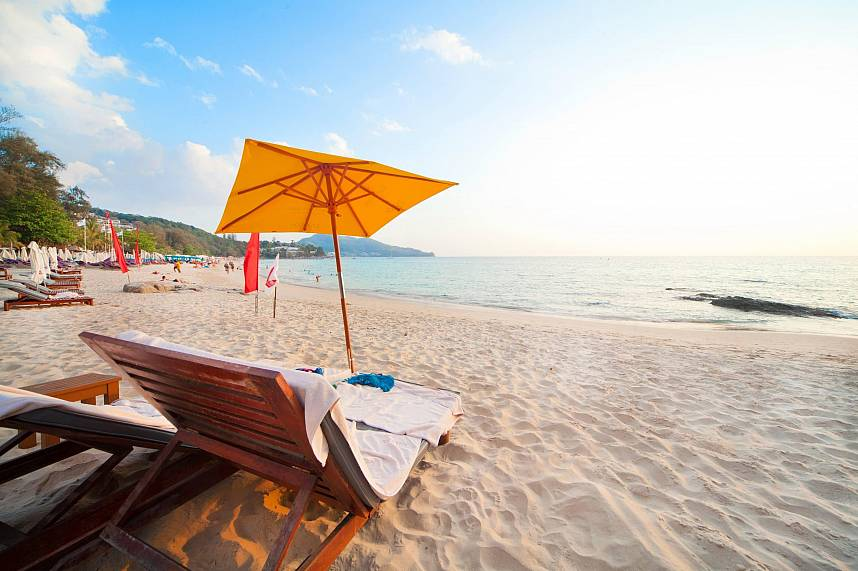 Get yourself a sun bed at the lovely beach of Zazada Beach Club Phuket