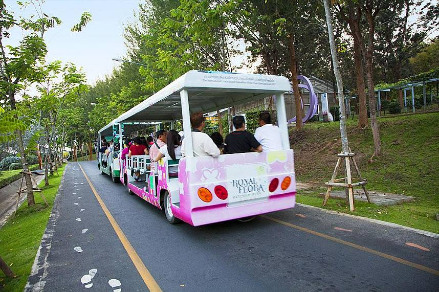 Take a joyful ride with the tourist bus along the flower gardens in Royal Flora Ratchapruek Chiang Mai