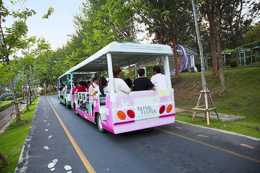Take a joyful ride with the tourist bus along the flower gardens in Royal Flora Ratchapruek Chiang Mai
