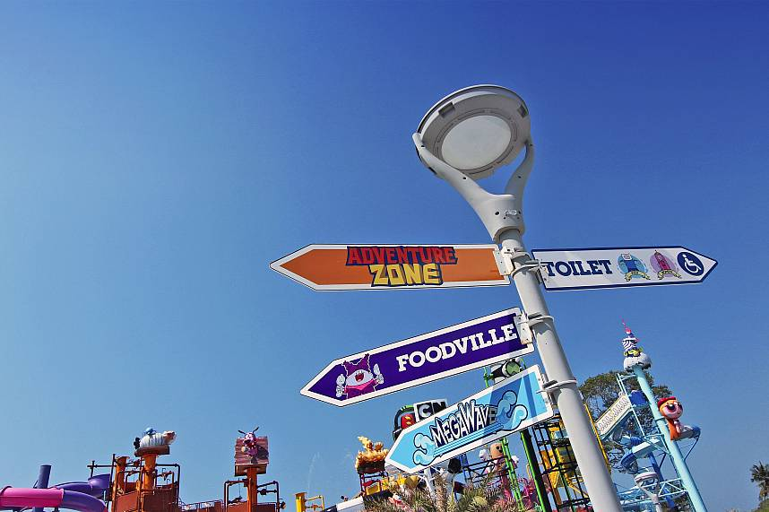 The many different actions are shown at this signboard in Pattaya Water Park Cartoon Network Amazone