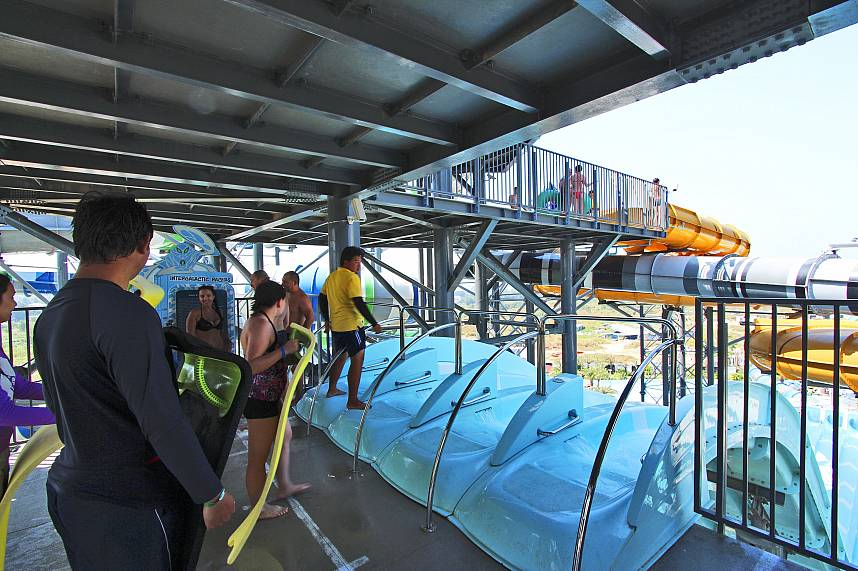Heart pumping action awaits you at the top of the giant water slide at Pattaya Water Park Cartoon Network Amazone