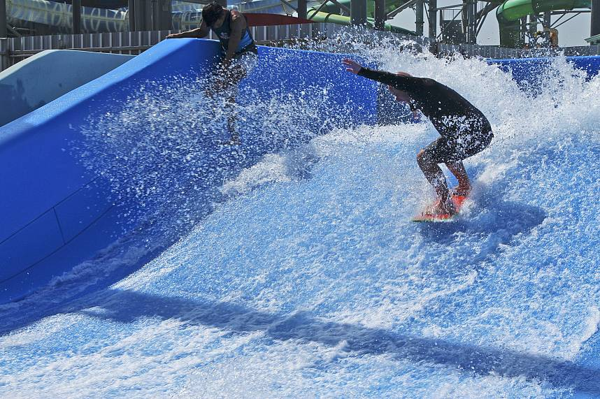 During a surfboard experience at Water Park Cartoon Network Amazone Pattaya your adrenaline will rush
