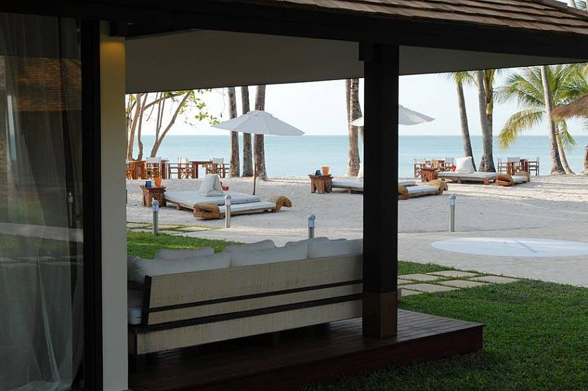 The terrace of this beach villa offers a great view over the beach at Koh Samui Nikki Beach Resort and Club