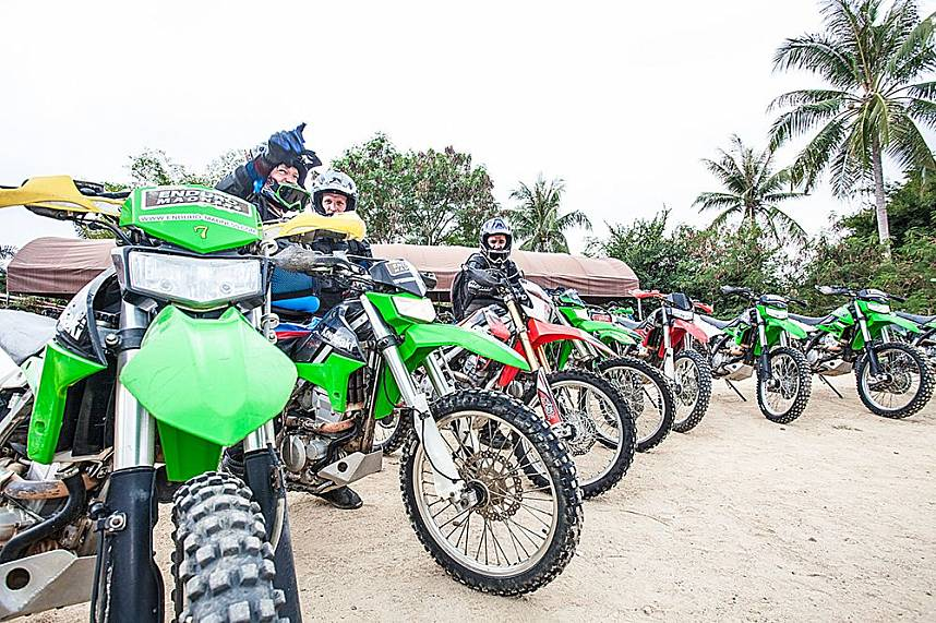 Adrenaline seeking guests get ready for a bike ride at ATV Pattaya Jungle Adventures