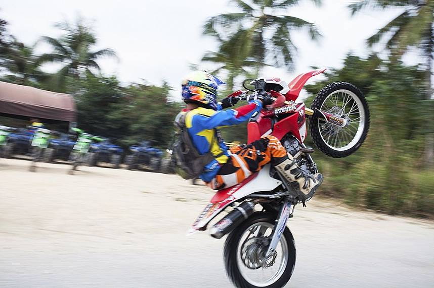 A furious bike start from this visitor at Pattaya ATV Jungle Adventures
