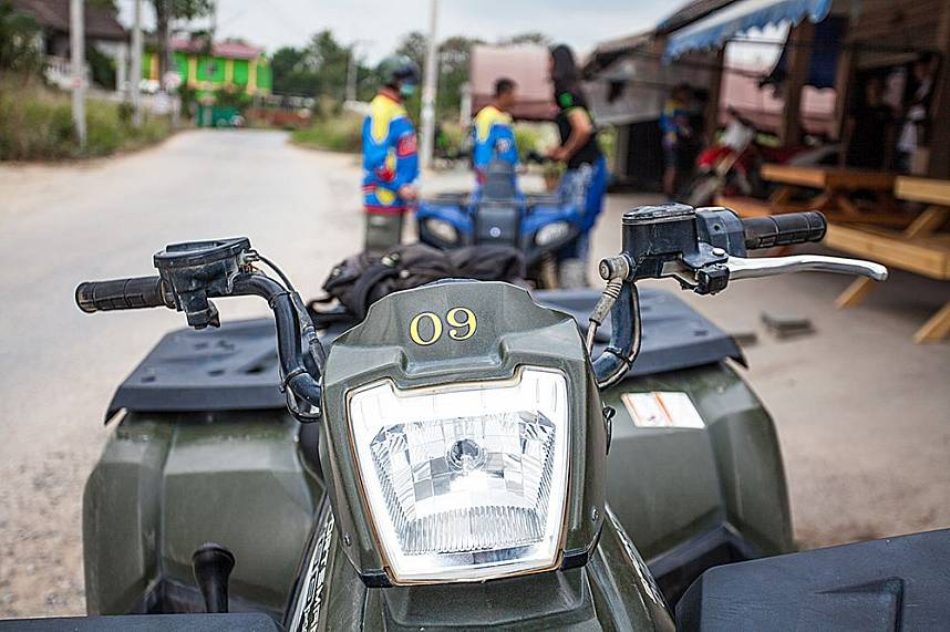 Well maintained vehicles awaiting the guests at ATV Jungle Adventures Pattaya