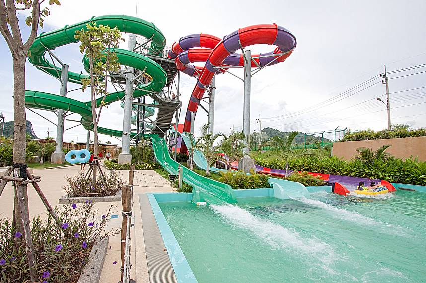 Huge long water gliders for a great day at RamaYana Water Park Pattaya