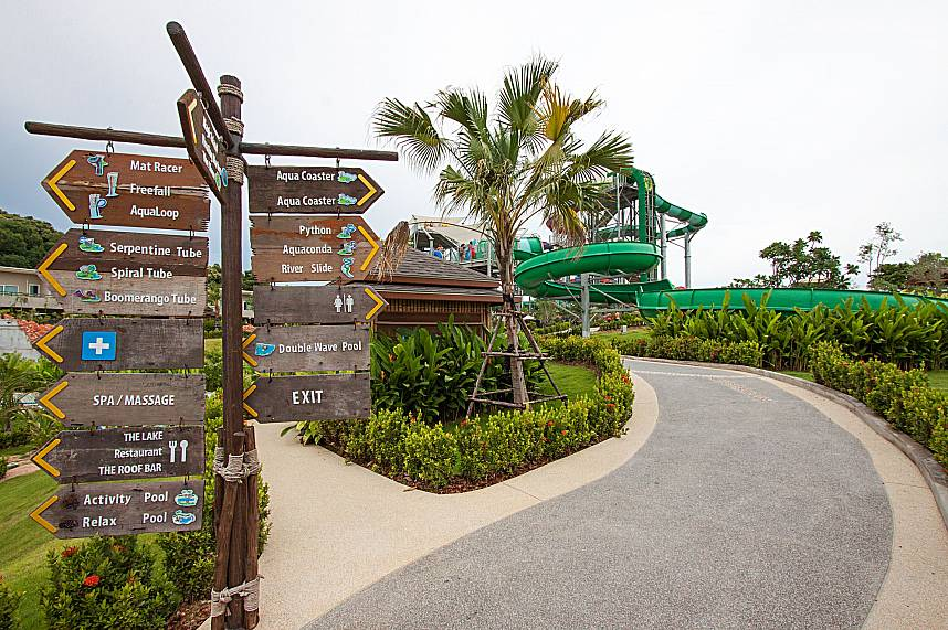 Many signboards show the way to the different attractions at RamaYana Water Park Pattaya
