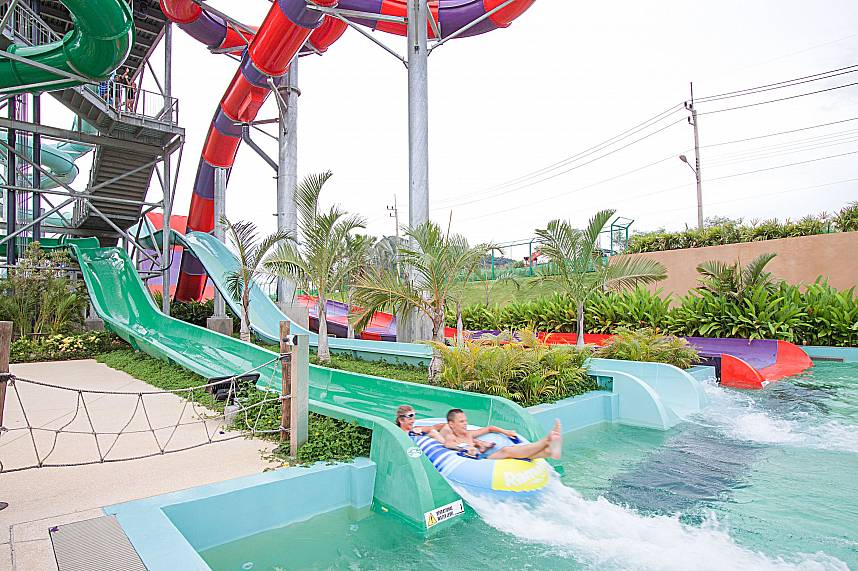 The final stage at one of the huge water glides at RamaYana Water Park Pattaya