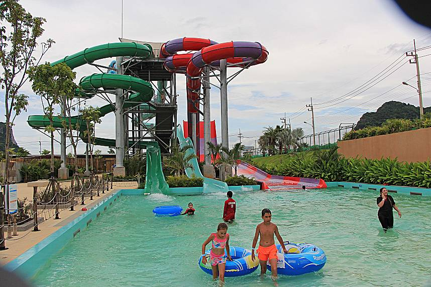 This photo shows all the fun you can get at RamaYana Water Park Pattaya
