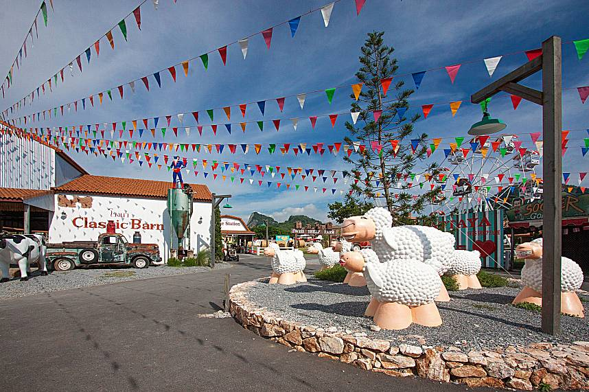 Festive decorations at Swiss Sheep Farm in Pattaya
