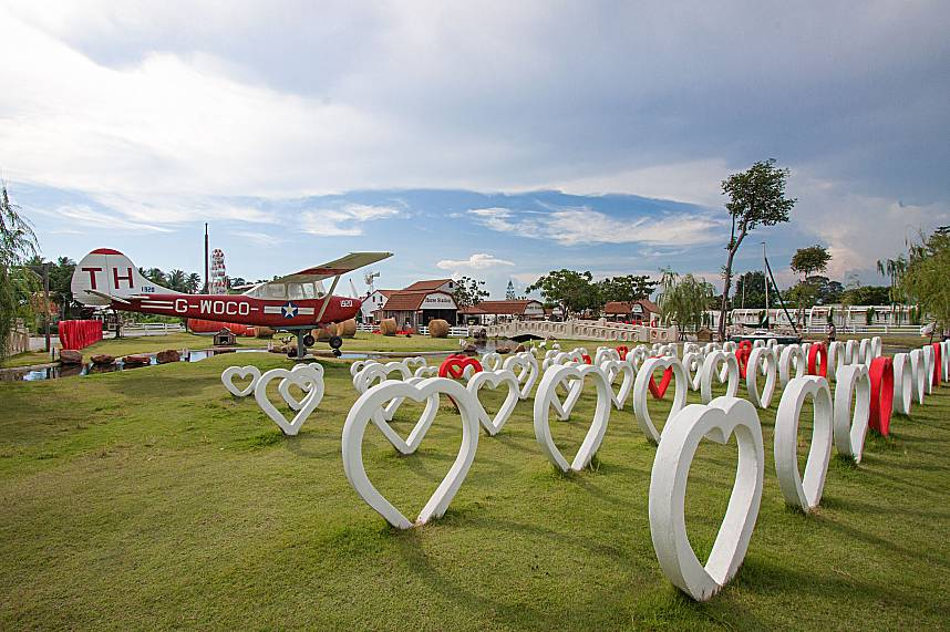Heart shaped images and an old plane at Swiss Sheep Farm in Pattaya