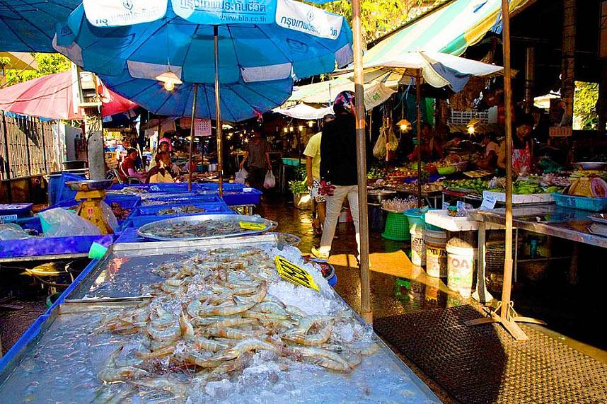 Amazing display of fresh seafood and fruits at Naklua Fish Market North Pattaya