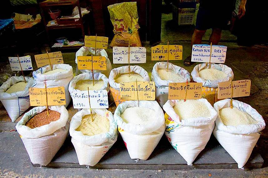 A variety of rice shown at Naklua Fish Market North Pattaya