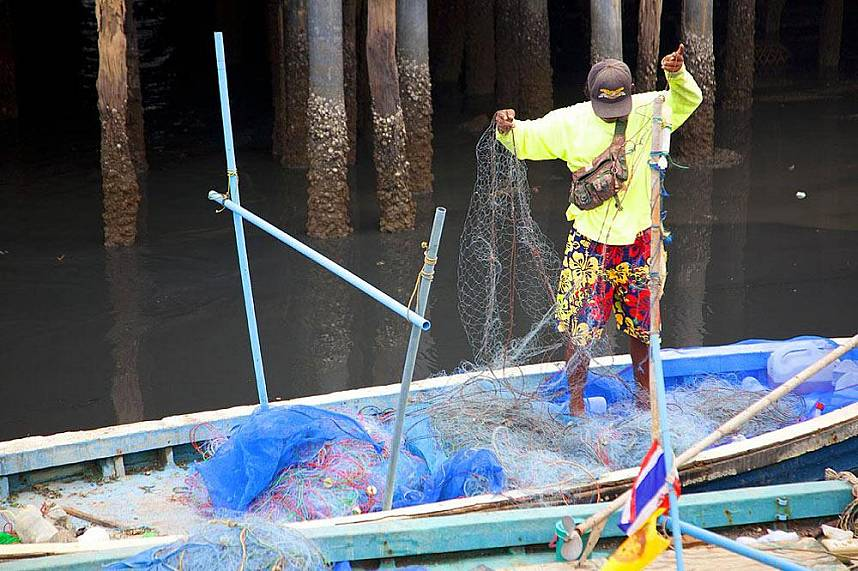 Get the net ready for the next catch at Naklua Fish Market North Pattaya