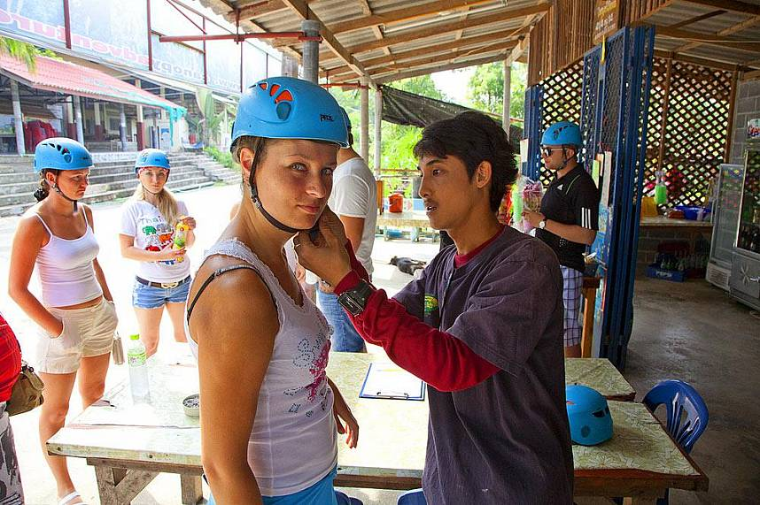 Trainers help to prepare the tourists for their adventure at Canopy Adventures Cable Ride Pattaya