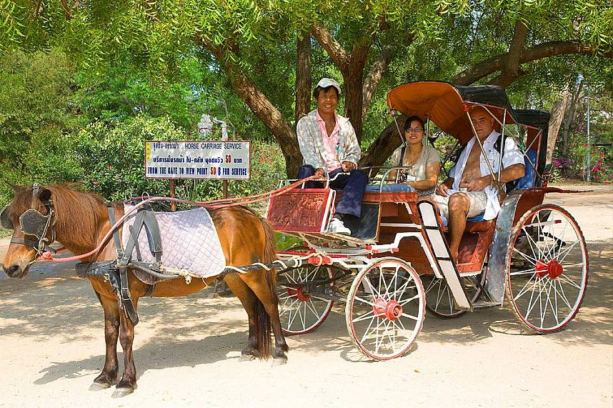 Enjoy a horse carriage ride along The Sanctuary of Truth in Pattaya