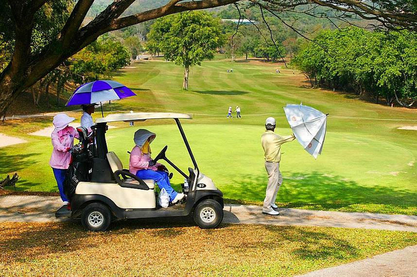 The golf kart is waiting for you at Pattaya Plutaluang Thai Navy Golf Club