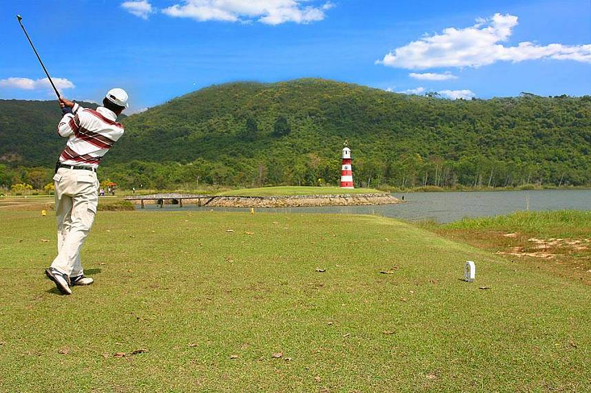 Get your ball over the water at Plutaluang Thai Navy Golf Club Pattaya