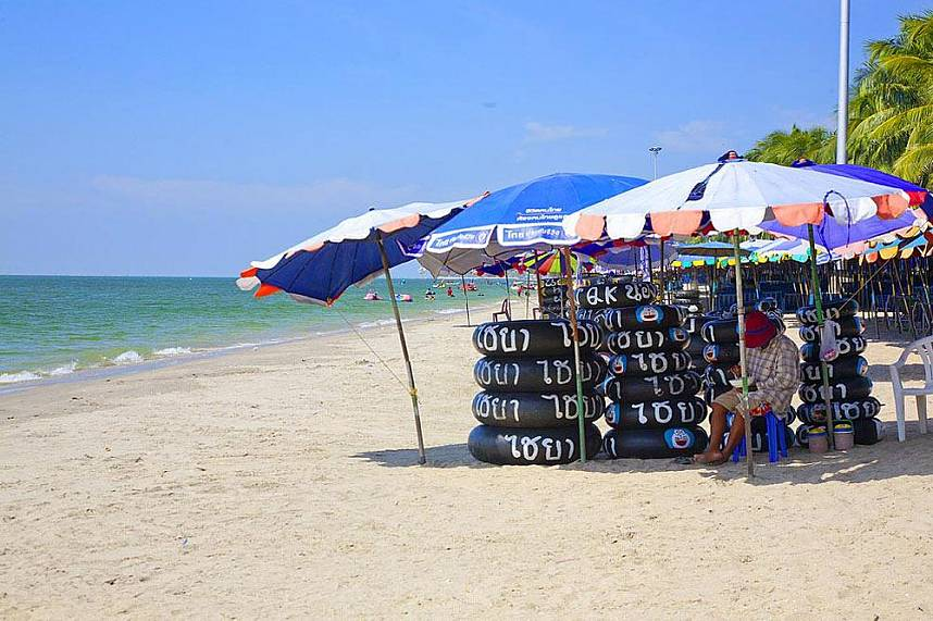 Inner tubes for the kids at Bangsaen Beach near Sriracha