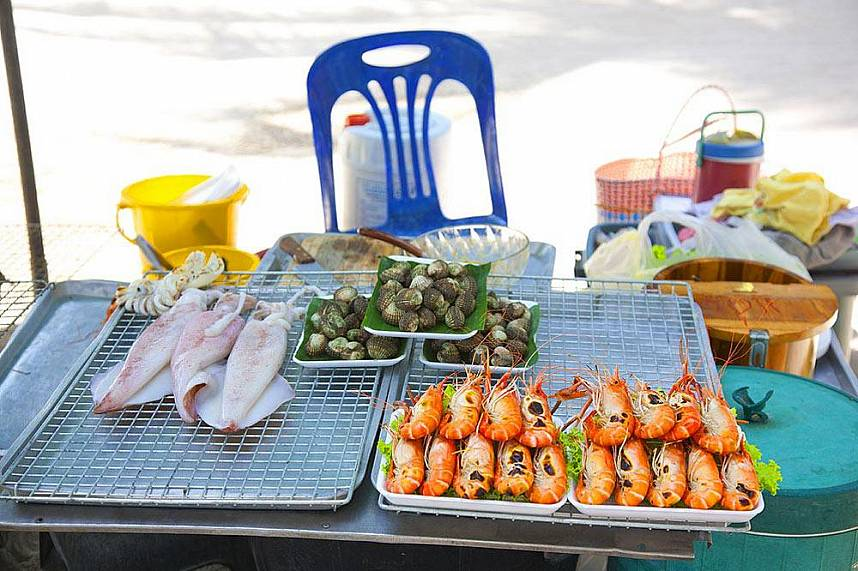 Fresh prepared sea food at Bangsaen Beach near Sriracha