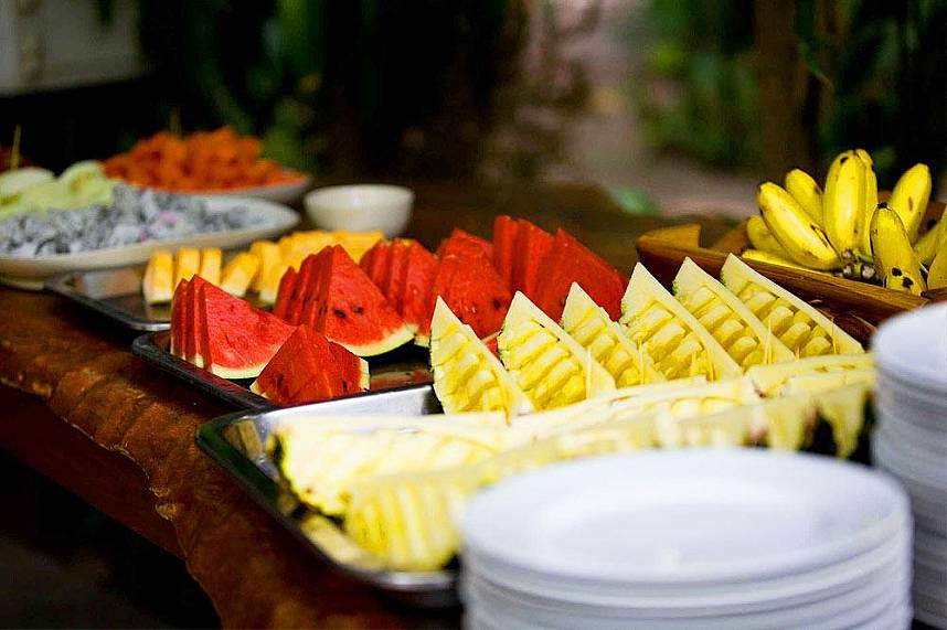 Enjoy the colorful fruit buffet at Elephant Village Pattaya