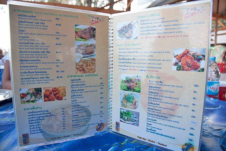 Amazing menus at Phong Phang Seafood Restaurant Phuket