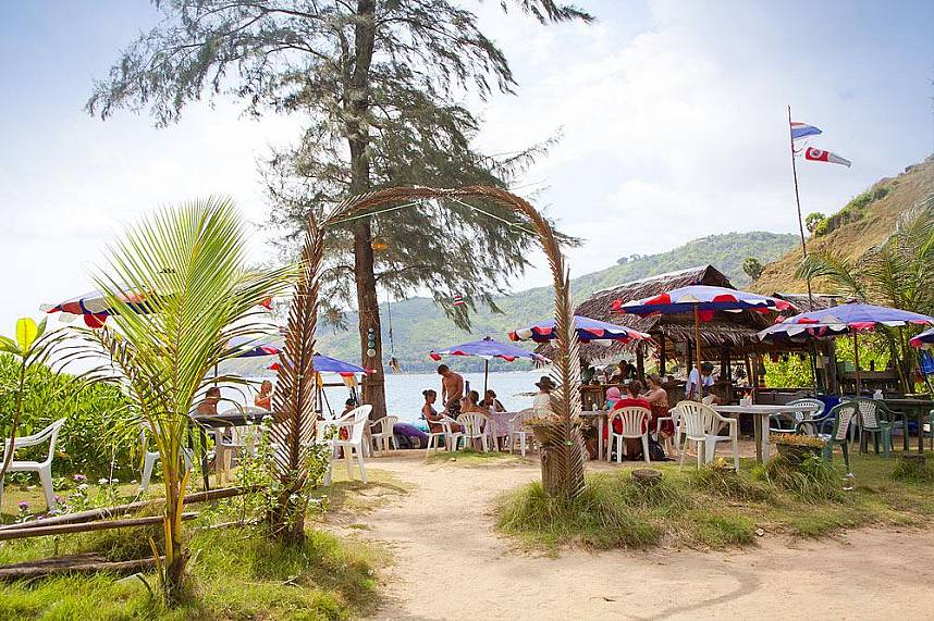 simple food shops waiting along Rawai Beach Phuket