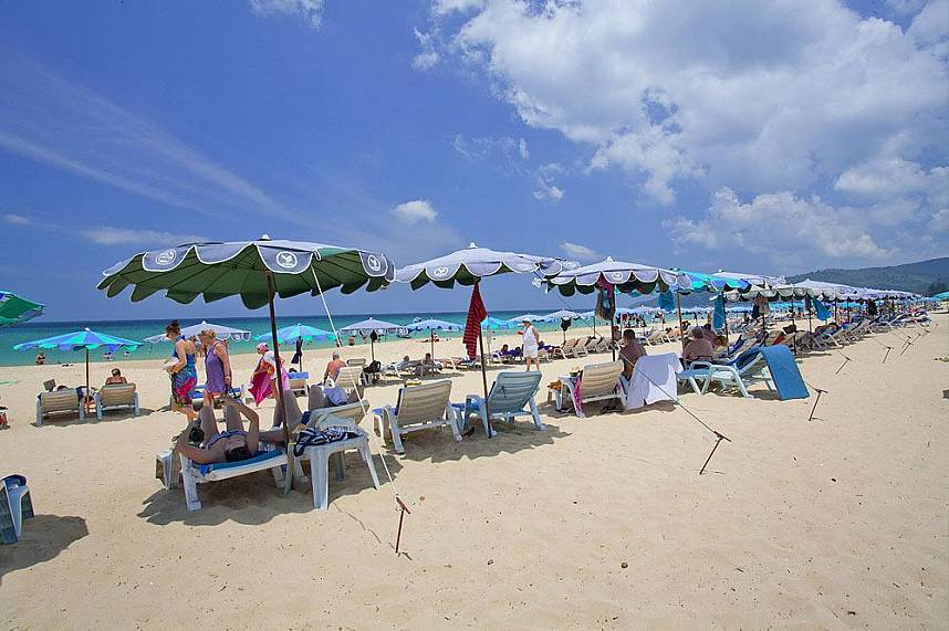 white sand and plenty of sun beds at Karon Beach Phuket