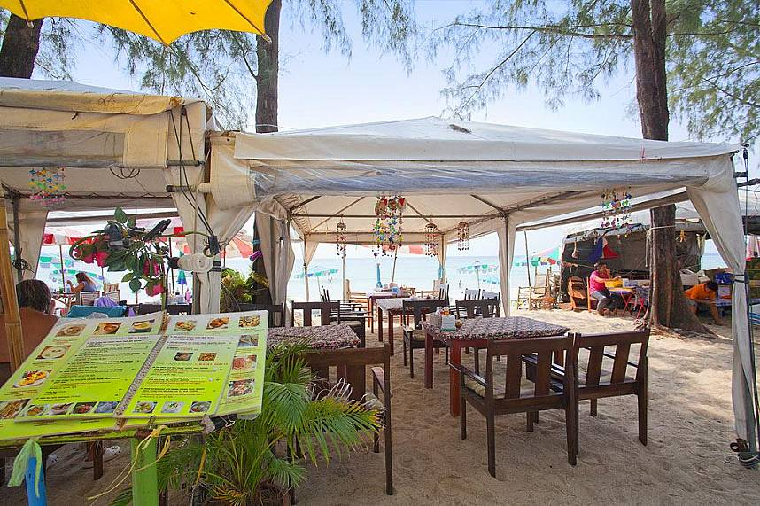 Simple food stalls along the tranquil Kamala Beach Phuket