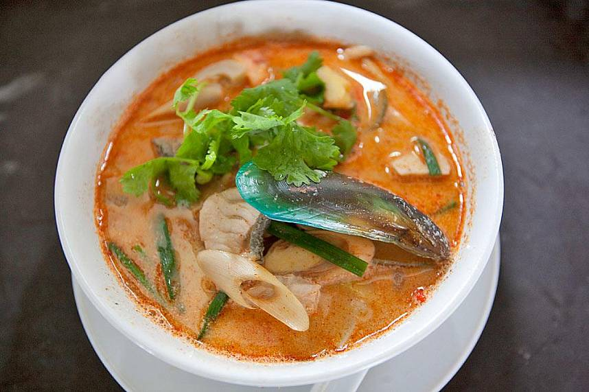 Spicy seafood soup at Nikita's Restaurant in Rawai