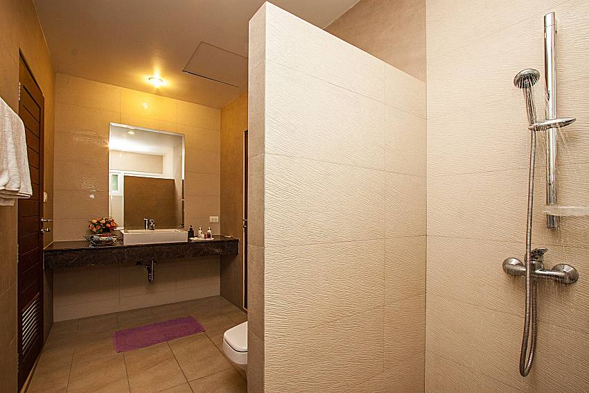 Bathroom with toilet and basin wash of Kancha villa