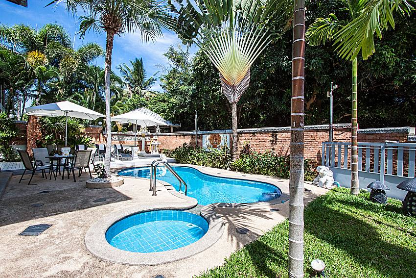 The overall atmosphere of the pool Daytime of Villa Jairak