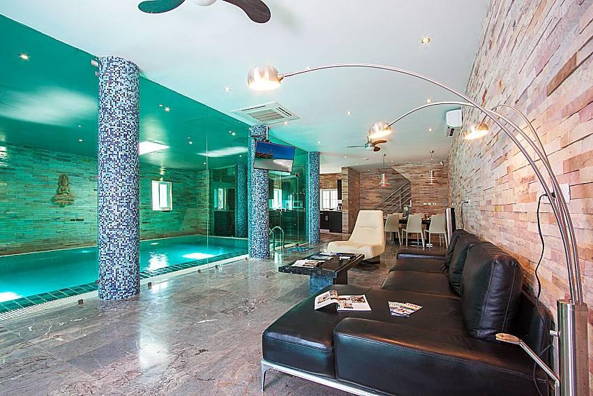 Living room near swimming pool Villa Virote in Phuket