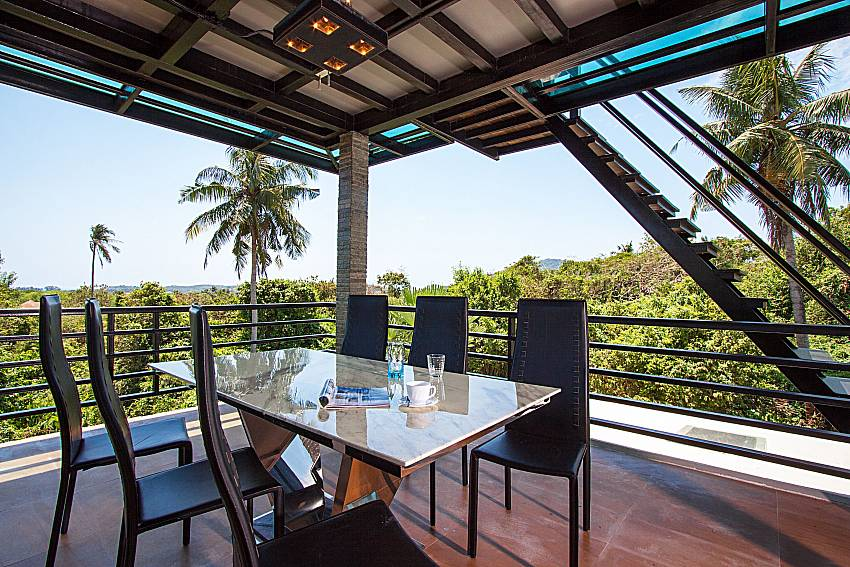 Balcony with Dinning area Villa Virote in Phuket