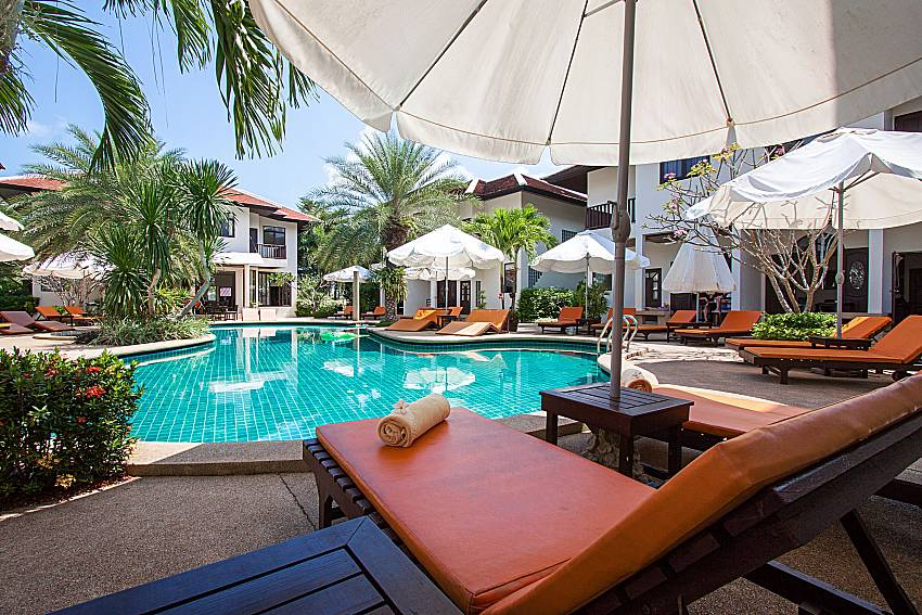 Sun bed near swimming pool Maprow Palm Villa No. 1 in Koh Samui