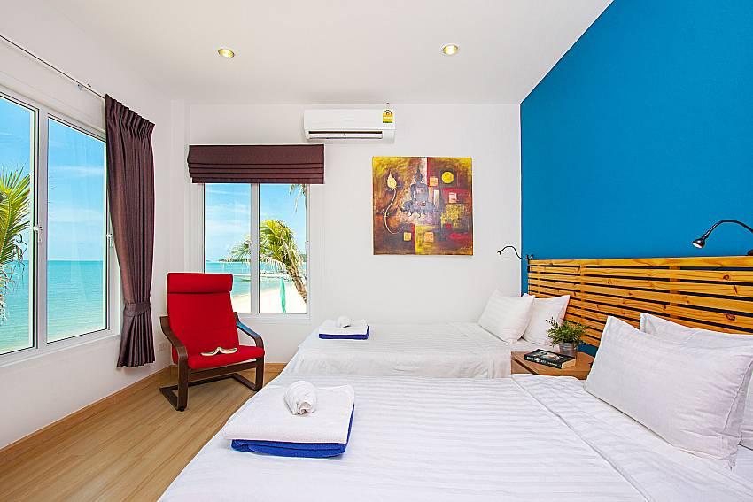 Bedroom with sea view Interstellar Beachfront Villa B in Samui
