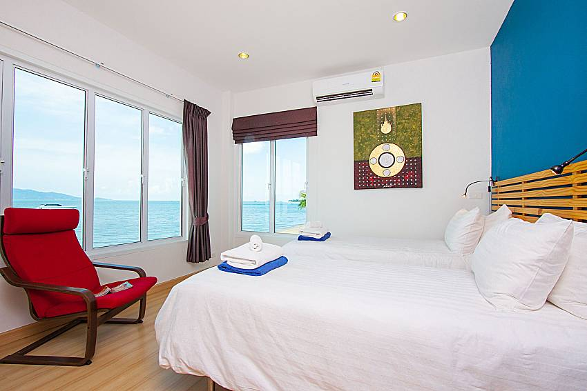 Bedroom with sea view Interstellar Beachfront Villa A in Samui