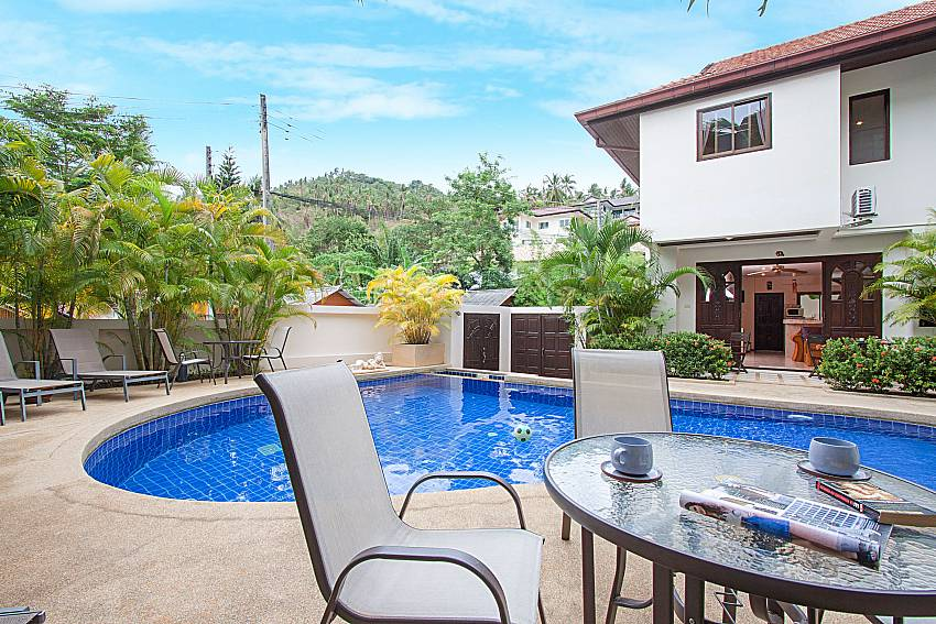 Seat and table near swimming pool Wan Hyud Villa No.201 at Chaweng in Samui