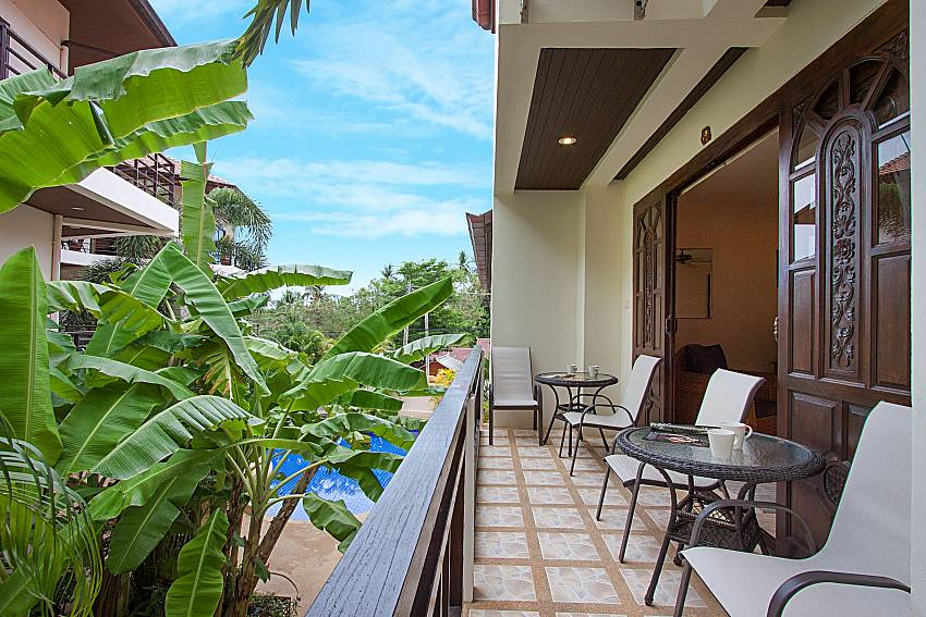 Balcony with seat and table Wan Hyud Villa at Chaweng in Samui