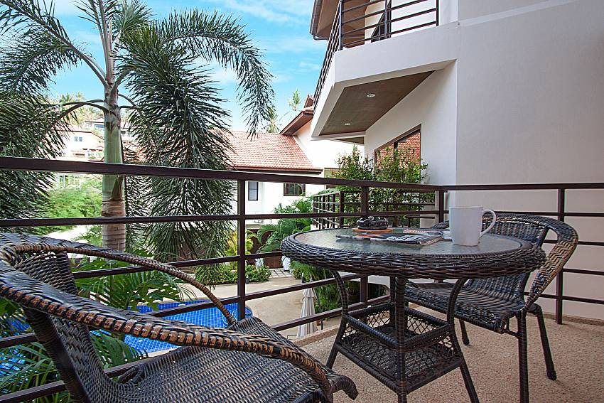 Balcony with seat and table Wan Hyud Villa No.103 at Chaweng in Samui