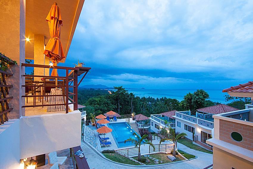 Balcony with sea view Villa Mak Di 104 in Samui