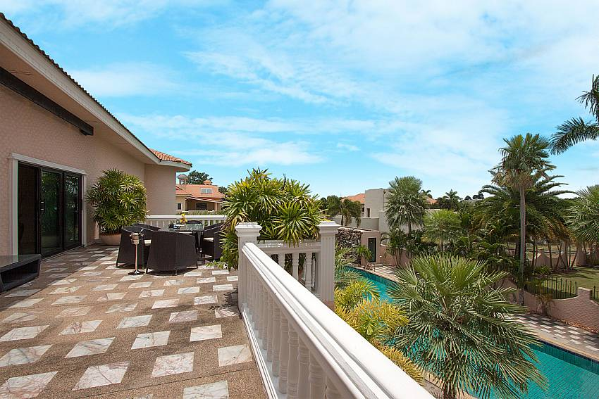 Balcony with seat and table Camelot Villa in East Pattaya