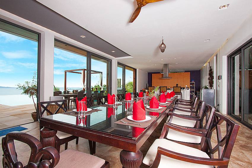 large dining table with sea view-Villa High Rise_Bophut_Samui_Thailand