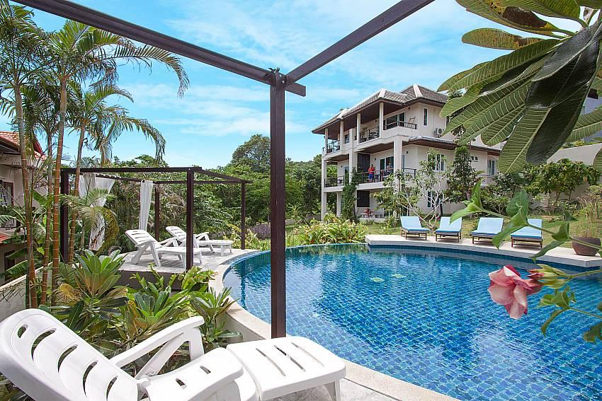 Sun bed near swimming pool Villa Janani 304 in Samui