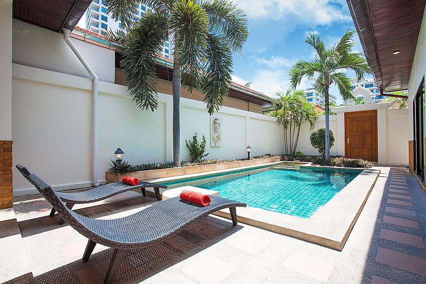 Sun beds by the private pool at Villa Majestic 41 Pratumnak Pattaya Thailand