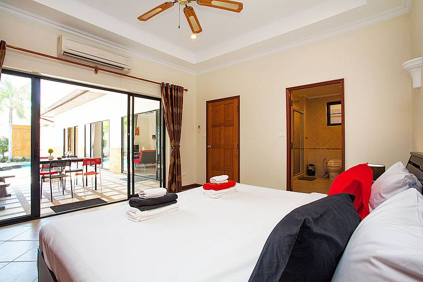 King size bedroom for guests at Villa Majestic 41 Pratumnak Pattaya Thailand